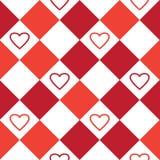Modèle sans couture avec les places blanches et rouges et les coeurs Illustration de vecteur illustration de vecteur