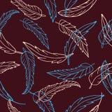 Modèle sans couture avec les plumes tirées par la main sur le fond rouge foncé Photographie stock libre de droits