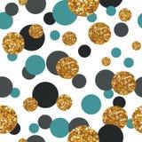 Modèle sans couture avec les points d'or de scintillement Image libre de droits