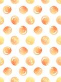 Modèle sans couture avec les points de polka oranges d'aquarelle Illustration de vecteur Images libres de droits