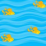 Modèle sans couture avec les poissons d'or dans les vagues minces et larges illustration de vecteur