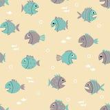 Modèle sans couture avec les poissons mignons de bande dessinée Photos libres de droits