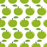 Modèle sans couture avec les pommes vertes illustration stock
