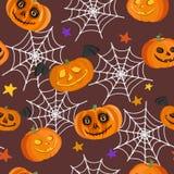 Modèle sans couture avec les potirons, la toile d'araignée et les étoiles Illustration de vecteur Photos stock