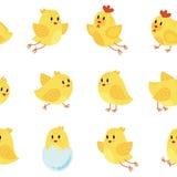 Modèle sans couture avec les poulets gais Illustration de Vecteur