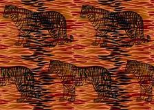 Modèle sans couture avec les rayures de fourrure de tigre et la silhouette de tigre Soyez illustration libre de droits