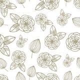 Modèle sans couture avec les roses et la feuille tirées par la main Illustration Stock