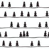 Modèle sans couture avec les sapins noirs et blancs Illustration de vecteur illustration libre de droits