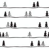 Modèle sans couture avec les sapins noirs et blancs Illustration de vecteur illustration de vecteur
