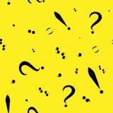 Modèle sans couture avec les signes de ponctuation noirs Fond jaune Illustration de vecteur Image stock