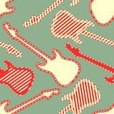 Modèle sans couture avec les silhouettes rayées blanches rouges de guitare de finition illustration de vecteur