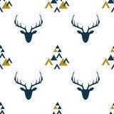 Modèle sans couture avec les silhouettes représentées des cerfs communs scandinaves illustration libre de droits