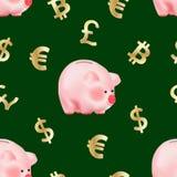 Modèle sans couture avec les symboles d'or de devises dollar du monde, d'euro, de livre sterling et de cryptocurrency de Bitcoin  illustration stock
