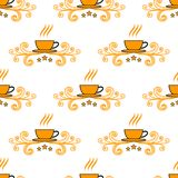 Modèle sans couture avec les tasses peu précises tirées par la main de thé et de café Photos libres de droits