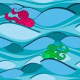 Modèle sans couture avec les vagues et les poissons peu communs illustration stock