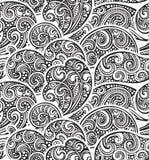 Modèle sans couture avec les vagues tirées par la main de mer de griffonnage illustration de vecteur