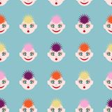 Modèle sans couture avec les visages drôles L'image des cheveux colorés de différentes couleurs et de différentes émotions illustration stock