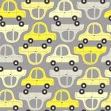 Modèle sans couture avec les voitures jaunes et grises Photos libres de droits