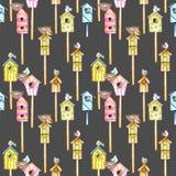 Modèle sans couture avec les volières colorées d'aquarelle, les oiseaux mignons et les nids Image libre de droits