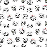 Modèle sans couture avec Panda Asian Bear Vector Illustrations mignon, collection d'éléments simples de texture d'animaux chinois Photo stock