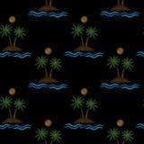 Modèle sans couture avec peu de palmier avec la vague et le soleil d'eau Images libres de droits