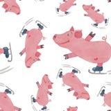 Modèle sans couture avec porcin drôle sur des patins peints avec le waterco illustration stock
