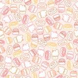 Modèle sans couture avec rouge, rose, gâteaux jaunes et oranges et butées toriques sur un fond beige rose illustration stock