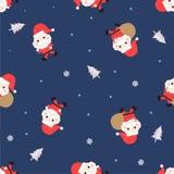 Modèle sans couture avec Santa Claus, le pin et le flocon de neige sur le fond bleu, vecteur illustration de vecteur