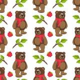 Modèle sans couture avec Teddy Bear dans une écharpe, une framboise, des branches et des feuilles rouges Photo stock
