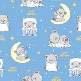 Modèle sans couture avec Teddy Bears de sommeil mignon illustration libre de droits