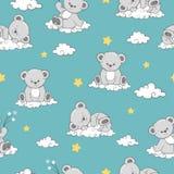 Modèle sans couture avec Teddy Bears de sommeil mignon sur des nuages illustration stock