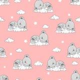 Modèle sans couture avec Teddy Bears et les nuages de sommeil mignons illustration libre de droits