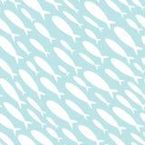 Modèle sans couture avec une école des poissons Papiers peints avec des silhouettes de petits poissons Texture avec l'espèce mari Illustration Libre de Droits