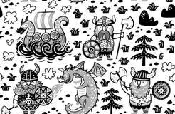 Modèle sans couture avec Vikings dans le style monochrome illustration stock