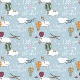 Modèle sans couture, baloons tirés par la main d'air chaud volant dans le ciel bleu, concept de jour de valentines Image stock