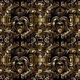 Modèle sans couture baroque d'or de vecteur Backg d'or floral de damassé Photographie stock libre de droits