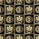 Modèle sans couture baroque d'or WI noirs floraux modernes de fond illustration libre de droits