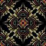Modèle sans couture baroque de broderie colorée Ornamental de vecteur illustration stock