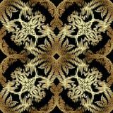 Modèle sans couture baroque de broderie d'or Texte d'ornamental de vecteur illustration libre de droits