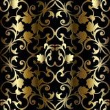Modèle sans couture baroque de l'or 3d Fond de cru de vecteur Image libre de droits