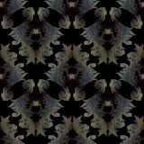 Modèle sans couture baroque de noir foncé Fond floral W de vecteur illustration de vecteur