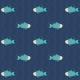 Modèle sans couture beaucoup de poissons dans l'eau bleue, fond Photographie stock libre de droits