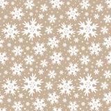 Modèle sans couture beige d'hiver avec des flocons de neige illustration de vecteur