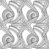 Modèle sans couture blanc noir avec les coquilles décoratives de mer pour la coloration illustration de vecteur