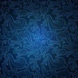 Modèle sans couture bleu avec les éléments fleuris de griffonnage illustration libre de droits