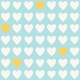 Modèle sans couture bleu-clair simple de vecteur avec les coeurs blancs et jaunes photographie stock libre de droits