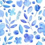 Modèle sans couture bleu de fleurs simples de silhouettes d'aquarelle illustration stock