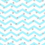 Modèle sans couture bleu et blanc de zigzag de Chevron illustration libre de droits