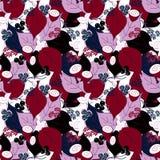 Modèle sans couture bleu noir blanc pourpre de feuilles et de fleurs de baies illustration stock