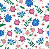 Modèle sans couture chiné de petites fleurs et feuilles illustration stock